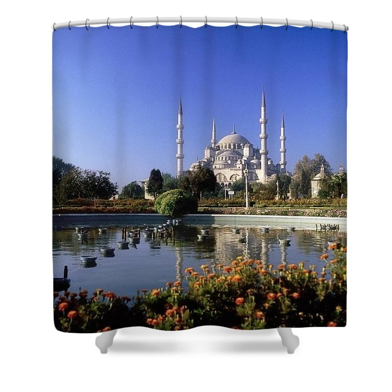 Blooming Shower Curtain featuring the photograph Blue Mosque, Sultanahmet, Istanbul by The Irish Image Collection