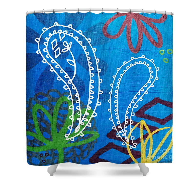 Paisley Shower Curtain featuring the painting Blue Paisley Garden by Linda Woods