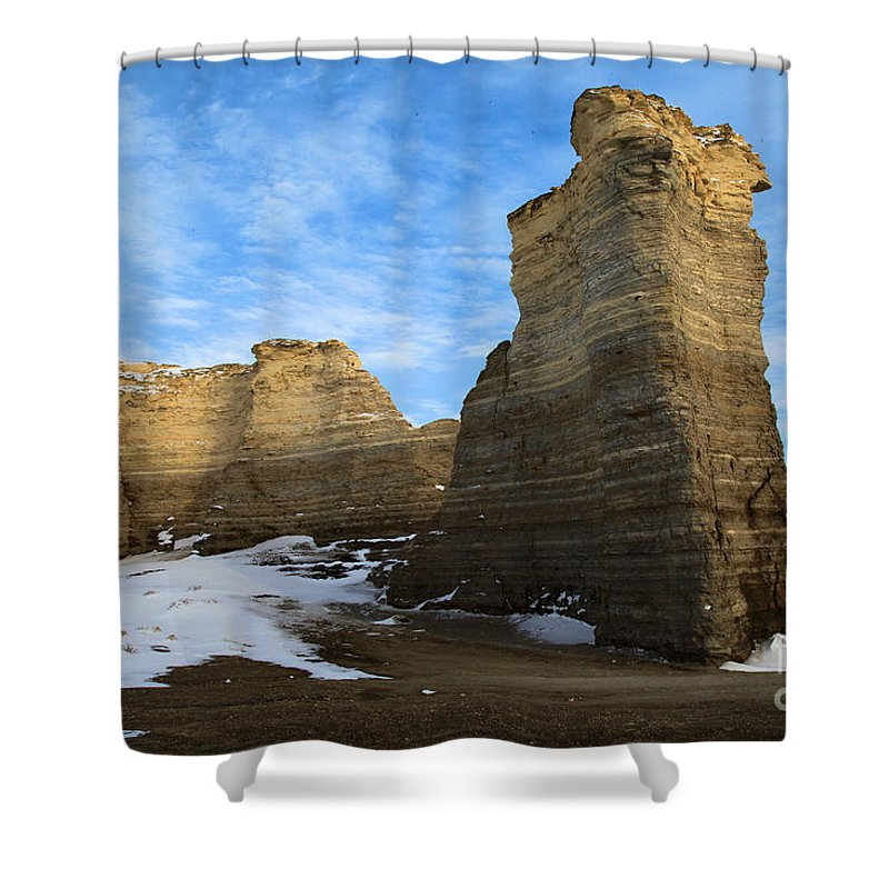 Monument Rocks Shower Curtain featuring the photograph Blue Skies At Monument Rocks by Adam Jewell