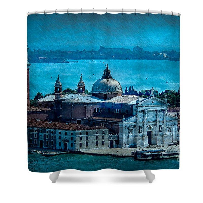 Venice Shower Curtain featuring the photograph Blue Venice by Doug Sturgess