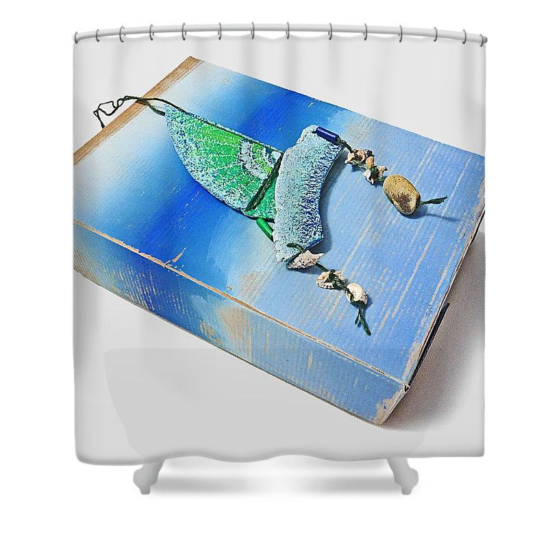 Box Shower Curtain featuring the painting Blue Water Sailing by Charles Stuart