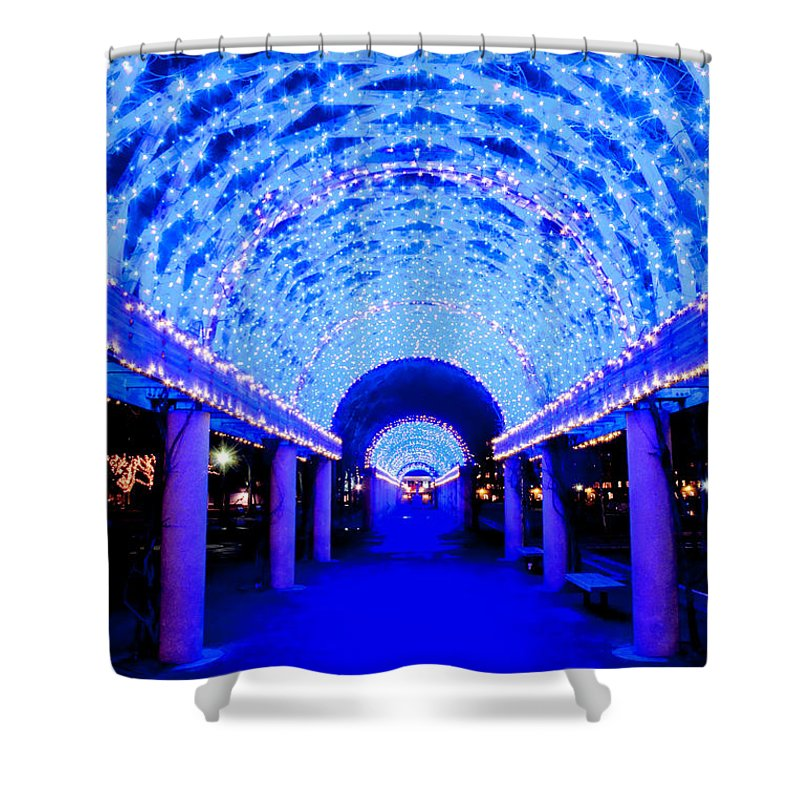 Art Shower Curtain featuring the photograph Blues Infinity by Greg Fortier