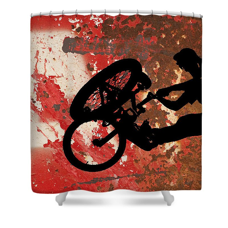 Bmx Shower Curtain featuring the digital art BMX by David Pringle