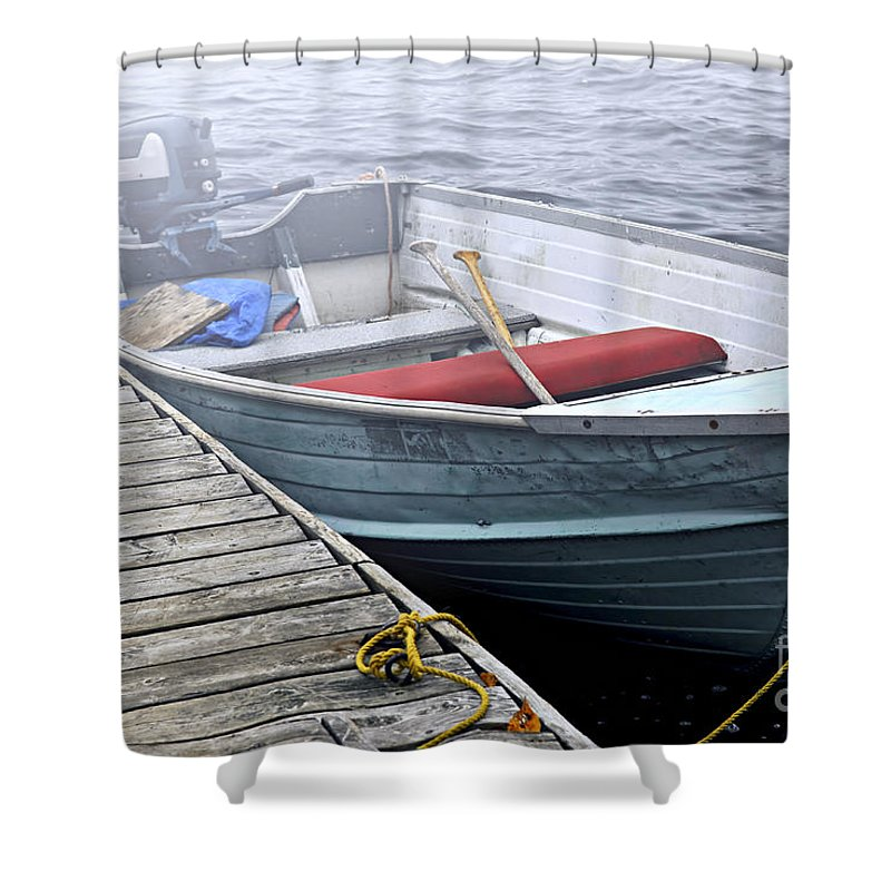 Boat Shower Curtain featuring the photograph Boat In Fog by Elena Elisseeva