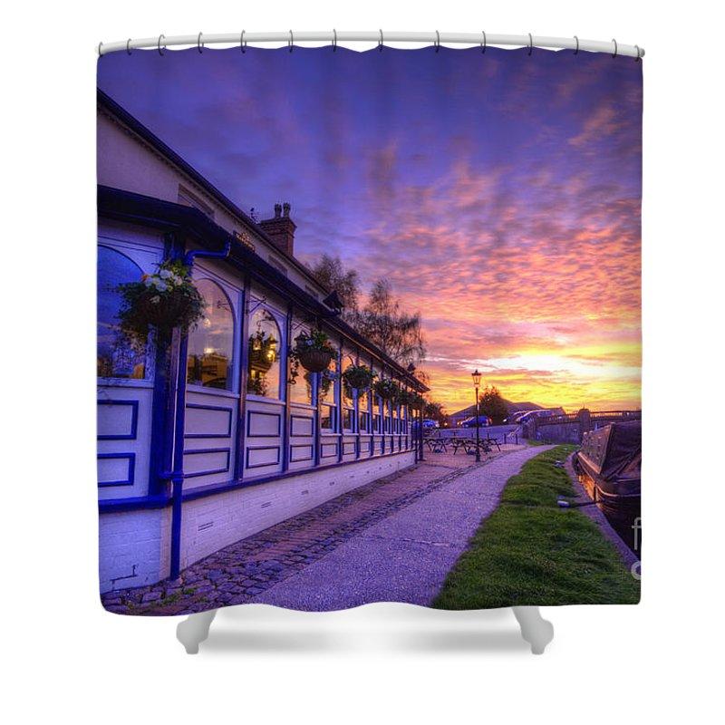 Yhun Suarez Shower Curtain featuring the photograph Boat Inn Sunrise 2.0 by Yhun Suarez