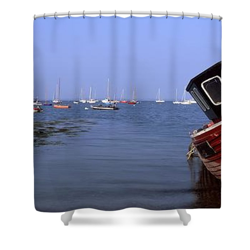 Blue Shower Curtain featuring the photograph Boat Moored In The Sea, Strangford by The Irish Image Collection