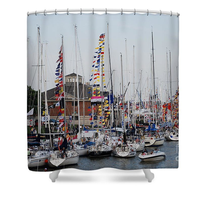 Boat Night Shower Curtain featuring the photograph Boat Night by Grace Grogan