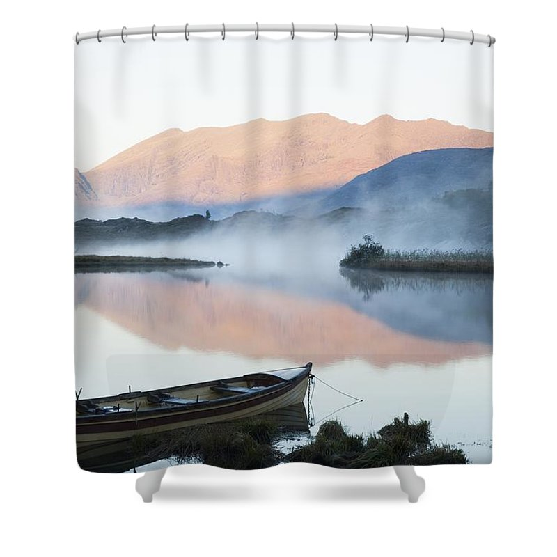 Tranquil Shower Curtain featuring the photograph Boat On A Tranquil Lake Killarney by Peter Zoeller