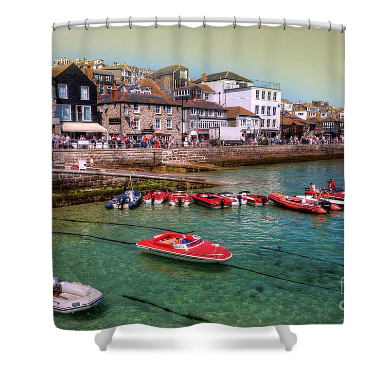 St Ives Shower Curtain featuring the photograph Boats At St Ives by Rob Hawkins