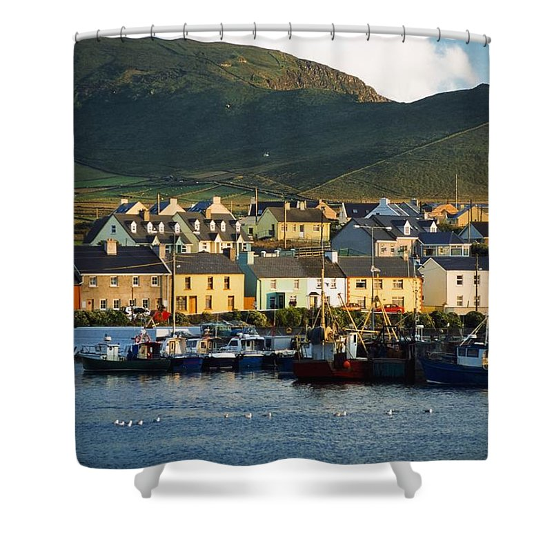Harbor Shower Curtain featuring the photograph Boats In Harbor By Waterfront Village by Gareth McCormack