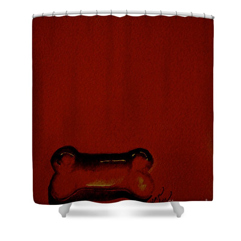 Dog Shower Curtain featuring the painting Bold Bone by Susan Herber