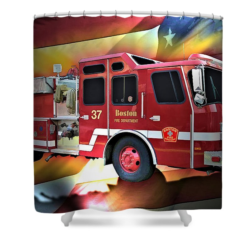 Boston Shower Curtain featuring the digital art Boston Engine 37 by Tommy Anderson