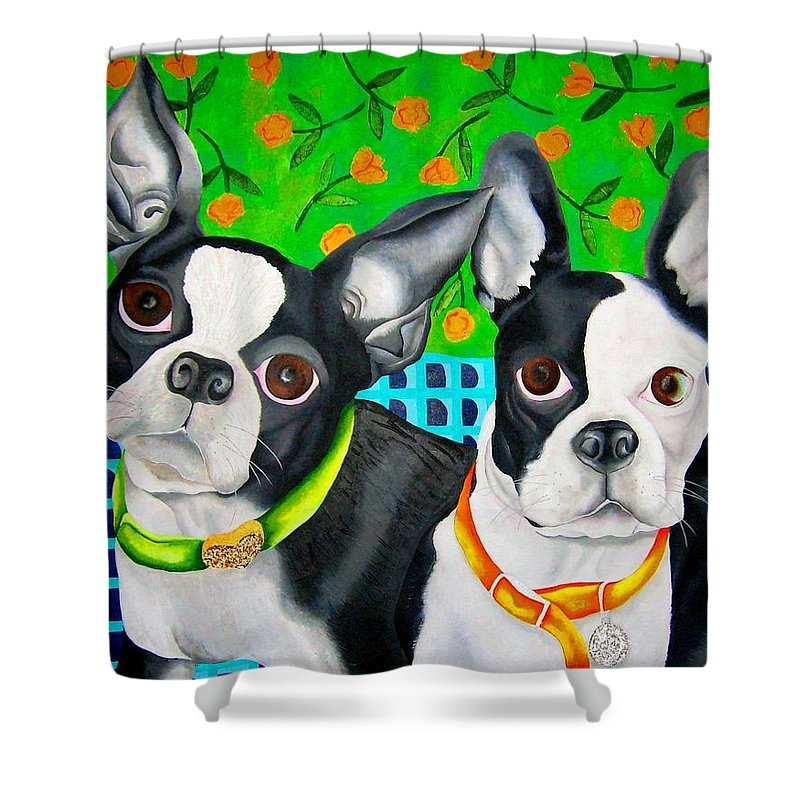 Boston Terrier Shower Curtain featuring the painting Boston Girls by Elizabeth Elequin