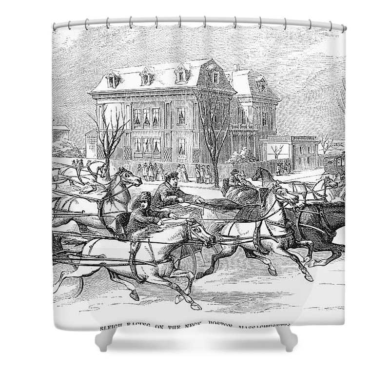 1854 Shower Curtain featuring the photograph Boston: Sleighing, 1854 by Granger