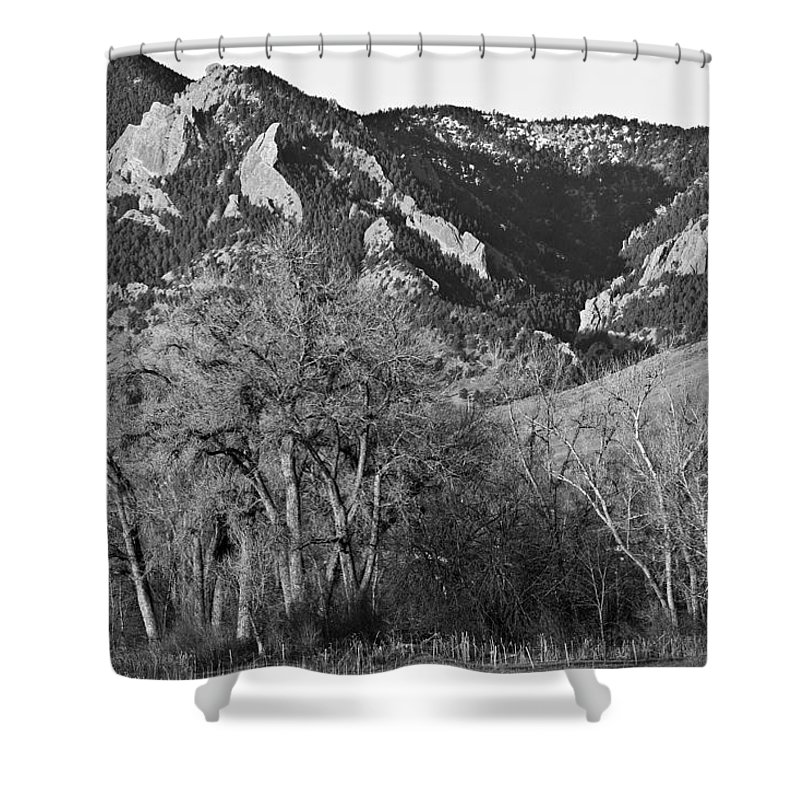 Flairons Shower Curtain featuring the photograph Boulder Colorado Front Range Ncar View by James BO Insogna