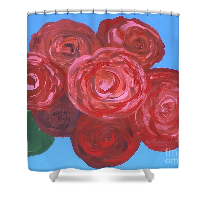 Mother's Day Shower Curtain featuring the painting Bouquet Of Roses by Alys Caviness-Gober