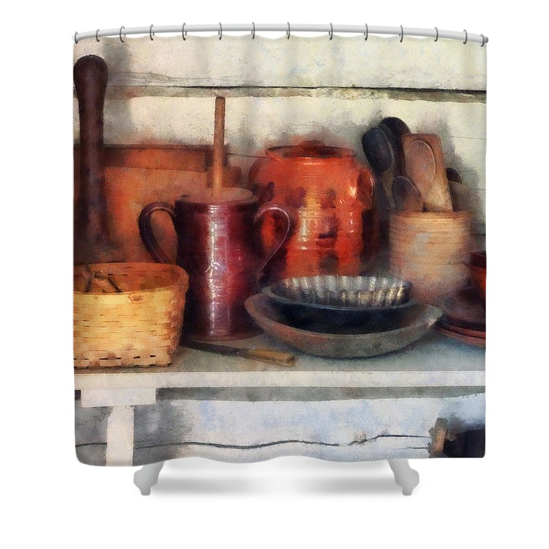 Bowl Shower Curtain featuring the photograph Bowls Basket And Wooden Spoons by Susan Savad
