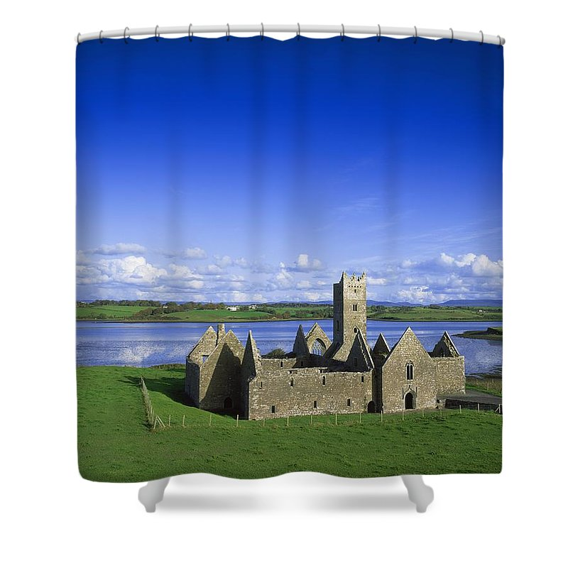 Ancient Ruins Shower Curtain featuring the photograph Boyle Abbey, Ballina, Co Mayo by The Irish Image Collection