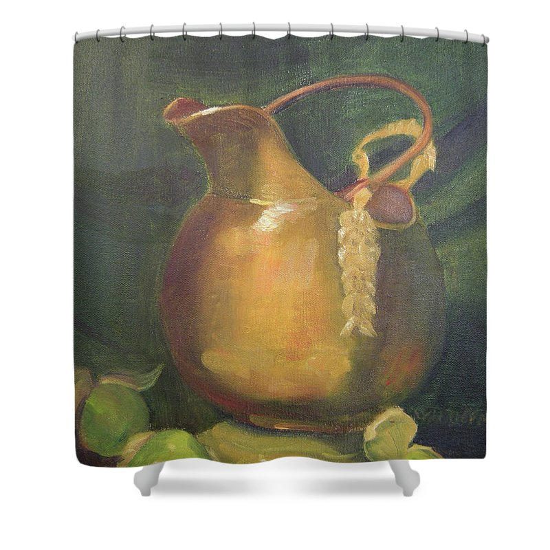 Still Life Shower Curtain featuring the painting Brass And Tomatillos by Lilibeth Andre