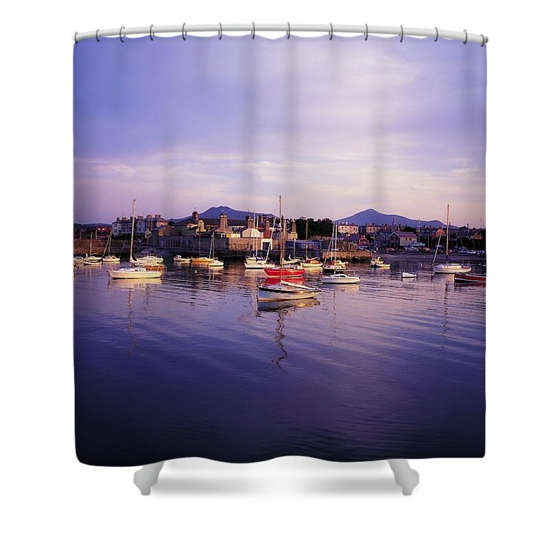 Boat Shower Curtain featuring the photograph Bray Harbour, Co Wicklow, Ireland by The Irish Image Collection