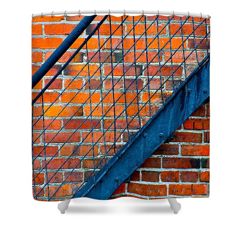 Brick Shower Curtain featuring the photograph Bricks And Steel by Karon Melillo DeVega