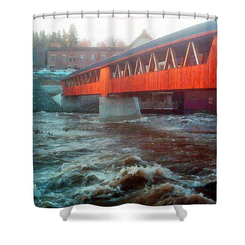 Bridge Prints Shower Curtain featuring the photograph Bridge Across The Ammonoosuc River by Marie Jamieson