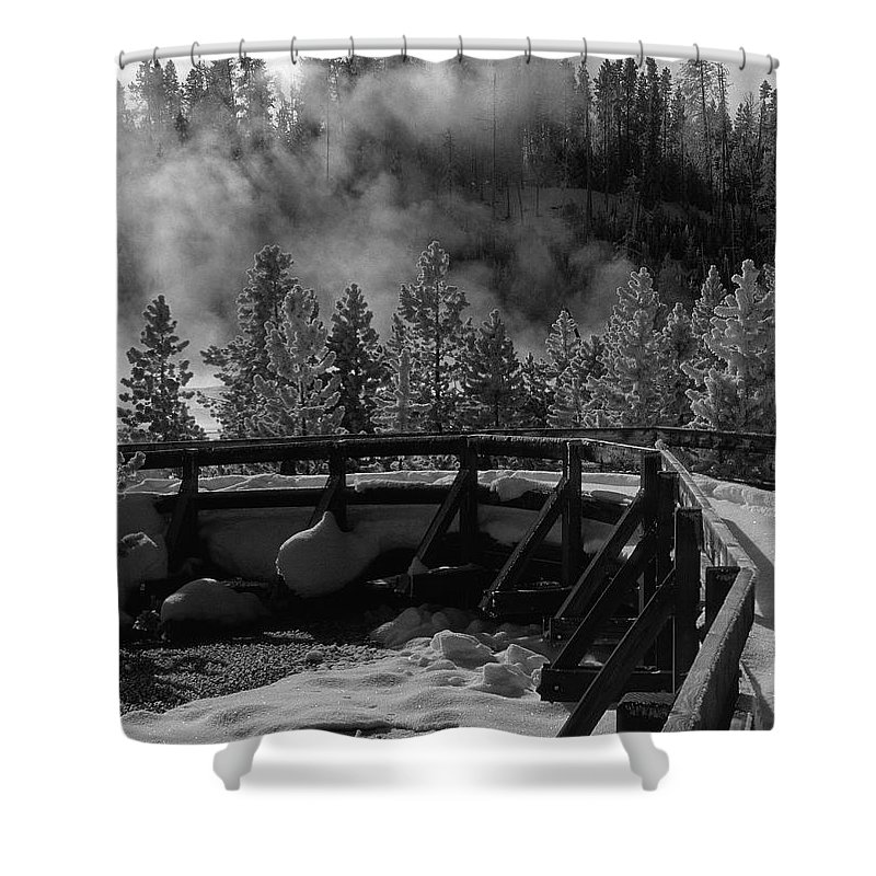 Sandra Bronstein Shower Curtain featuring the photograph Bridge In Mud Volcano Area by Sandra Bronstein