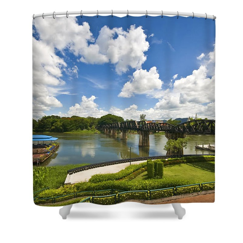River Kwai Shower Curtain featuring the photograph Bridge On The River Kwai Thailand by Charuhas Images