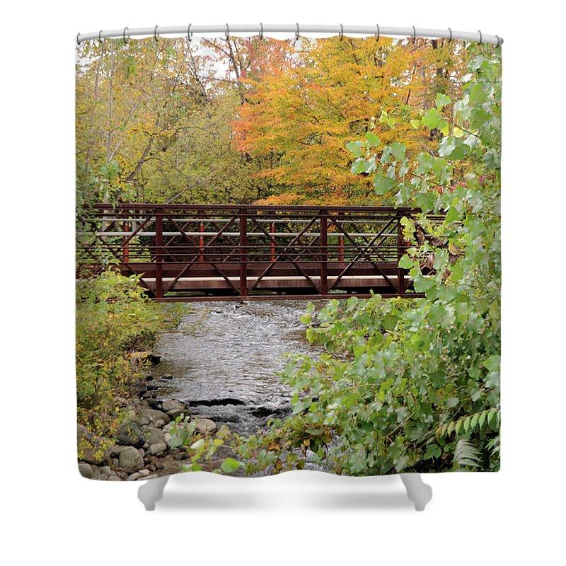 Bridge Shower Curtain featuring the photograph Bridge Over River by Ronald Grogan