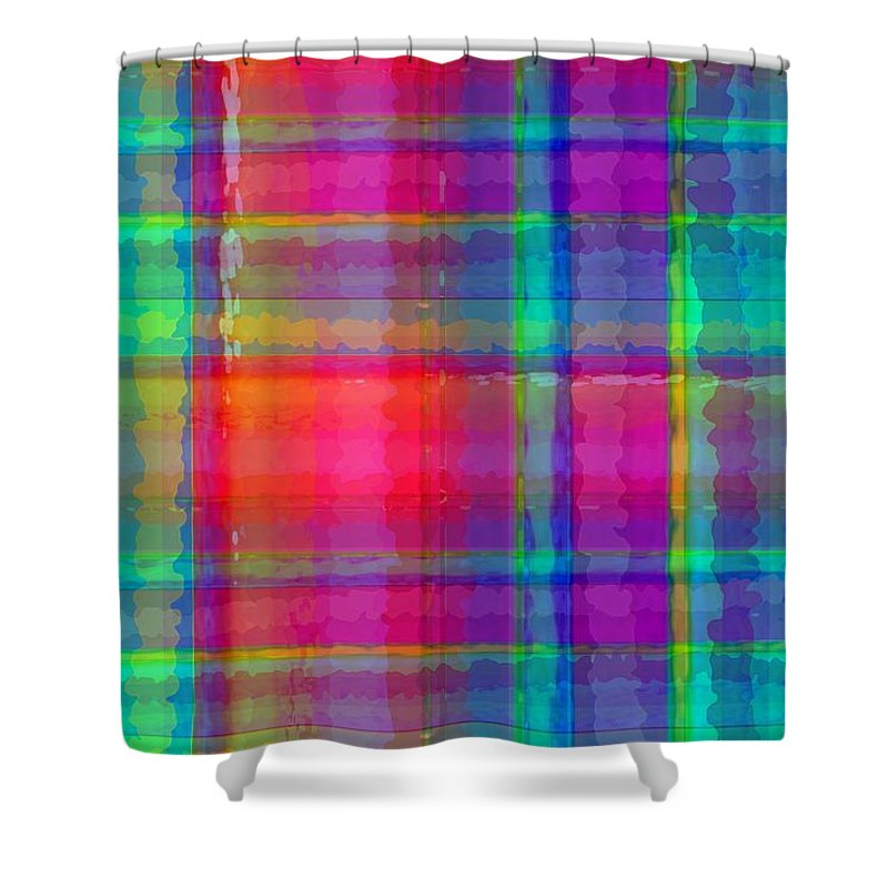 Bright Plaid (digital) By Louisa Knight (contemporary Artist) Shower Curtain featuring the digital art Bright Plaid by Louisa Knight