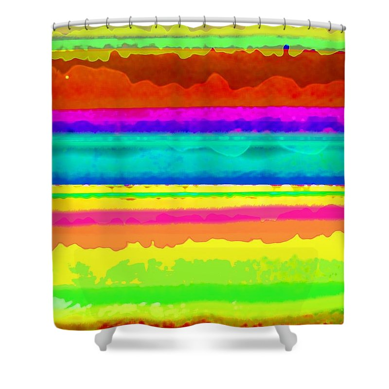 Bright Stripe (digital) By Louisa Knight (contemporary Artist) Shower Curtain featuring the digital art Bright Stripe by Louisa Knight