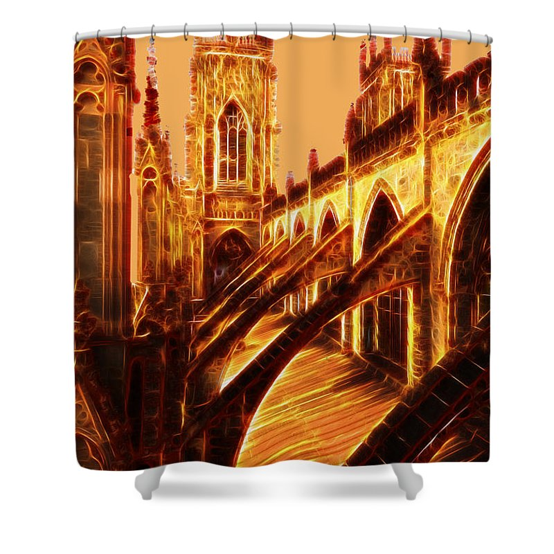 Architecture Shower Curtain featuring the photograph British Christian Cathedral by Ericamaxine Price