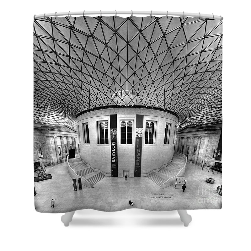 Glass Shower Curtain featuring the photograph British Museum by Roddy Atkinson