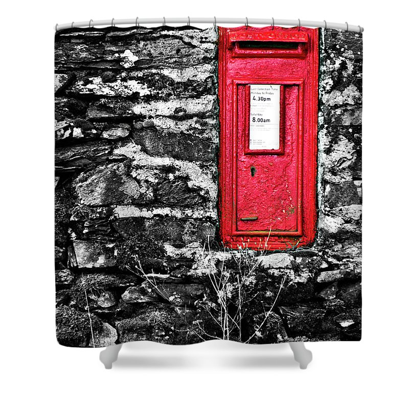 Post Shower Curtain Featuring The Photograph British Red Box By Meirion Matthias