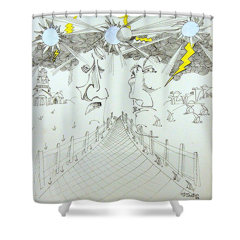 Faces Shower Curtain featuring the drawing Brothers by Dennis Casto