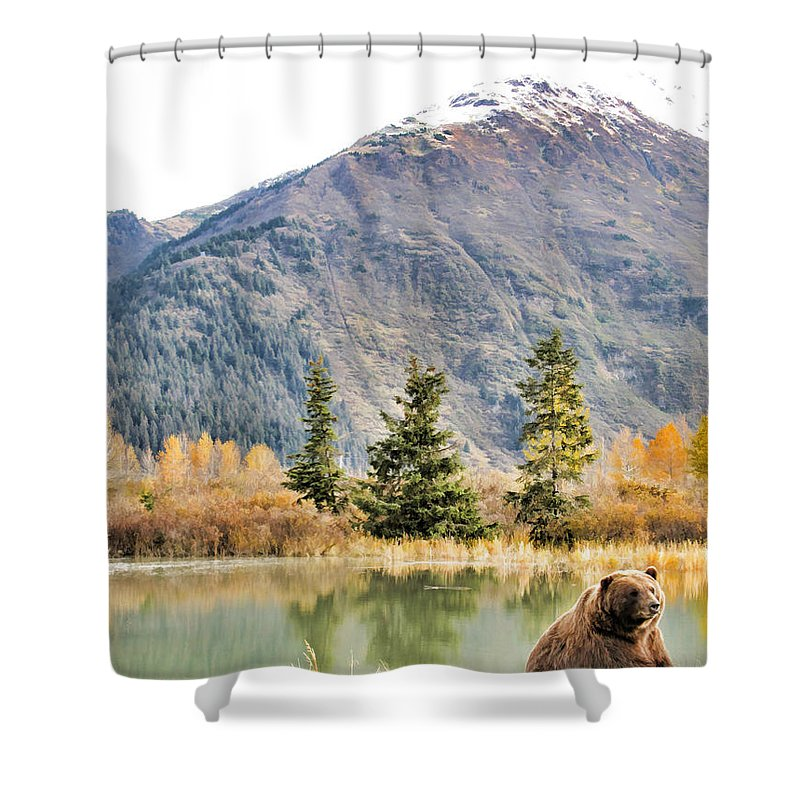 Bear Shower Curtain featuring the painting Brown Bear 207 by Dean Wittle