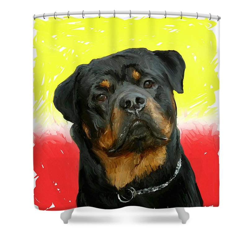 Dog Shower Curtain featuring the painting Brutus by Snake Jagger