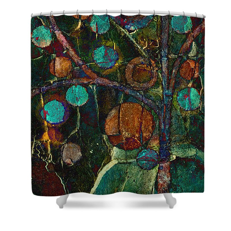 Tree Shower Curtain featuring the painting Bubble Tree - Spc01ct04 - Left by Variance Collections
