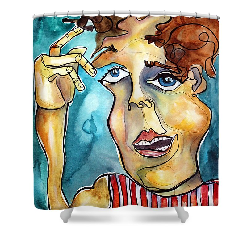 Portrait Shower Curtain featuring the painting Bucko by Darcy Lee Saxton