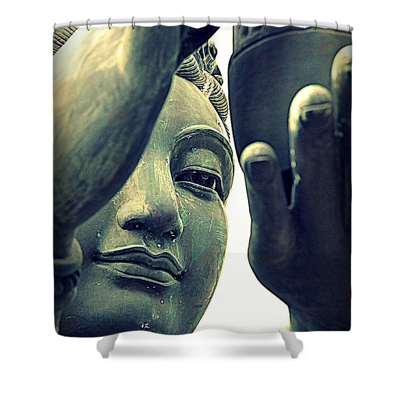 Buddha Shower Curtain featuring the photograph Buddhist Statue by Valentino Visentini