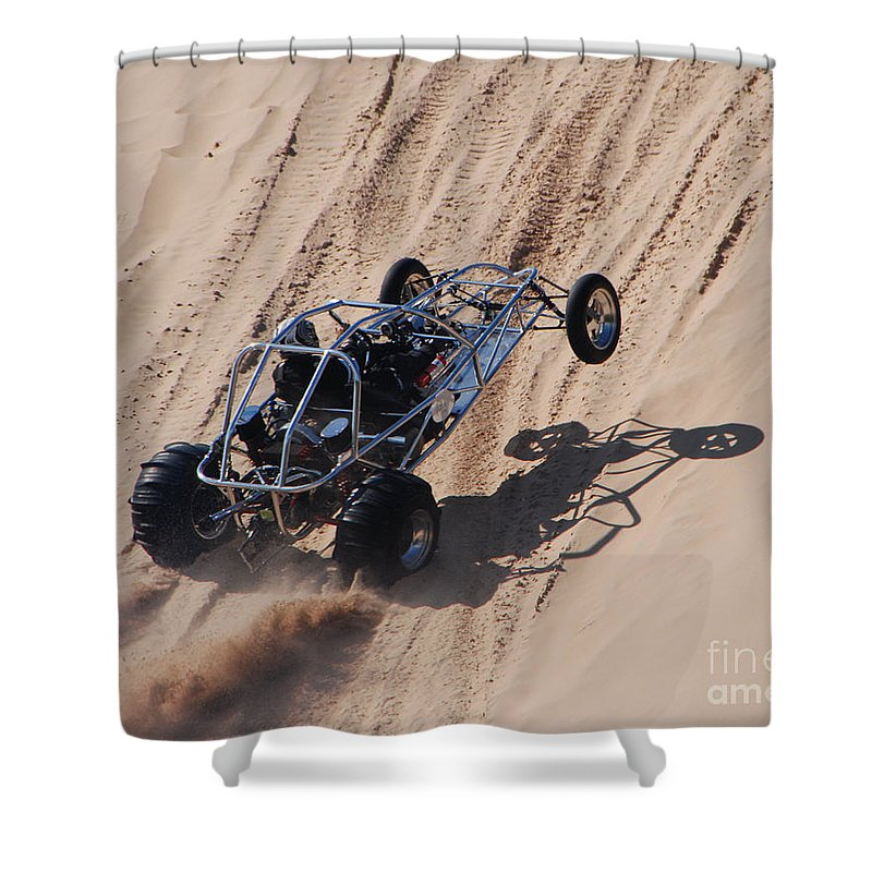 Dune Buggy Shower Curtain featuring the photograph Buggy Climb by Grace Grogan