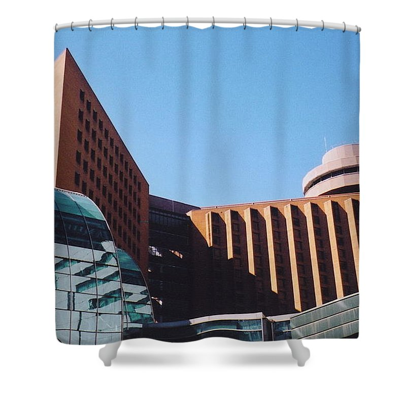 Building Shapes Shower Curtain featuring the photograph Building Shapes by Denise Keegan Frawley