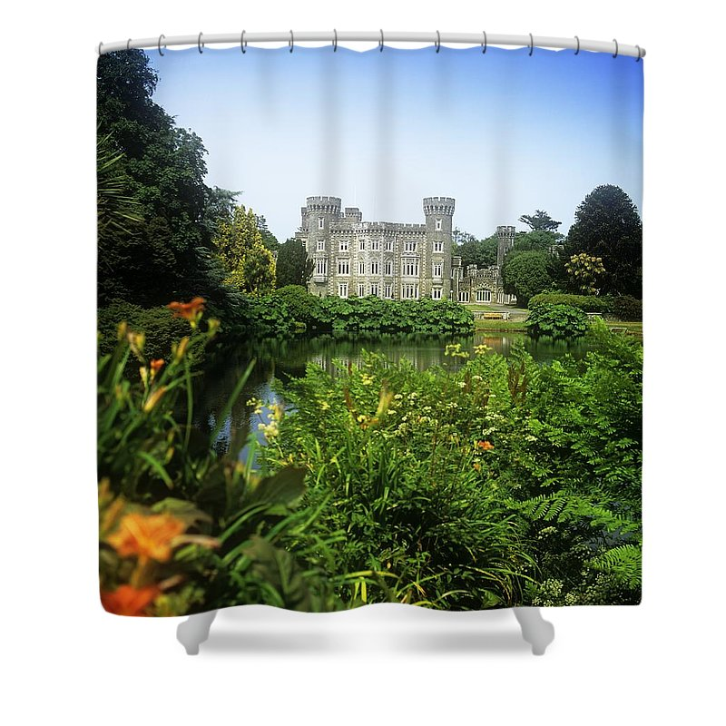 Building Exterior Shower Curtain featuring the photograph Building Structure In A Garden by The Irish Image Collection