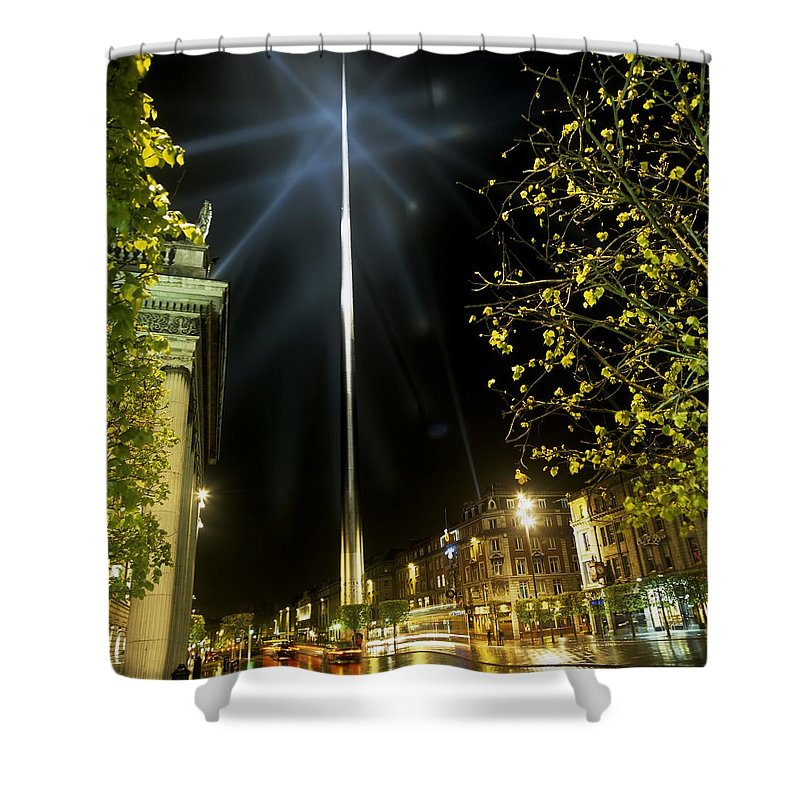Baile �tha Cliath Shower Curtain featuring the photograph Buildings Lit Up At Night, Oconnell by The Irish Image Collection