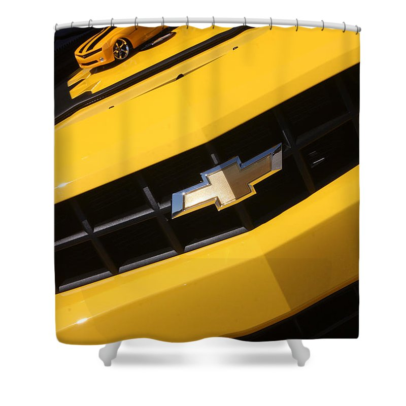 2011 Chevrolet Camaro Shower Curtain featuring the photograph Bumble Bee Grill-7921 by Gary Gingrich Galleries