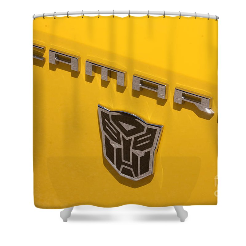 2011 Chevrolet Camaro Shower Curtain featuring the photograph Bumble Bee Logo-7909 by Gary Gingrich Galleries