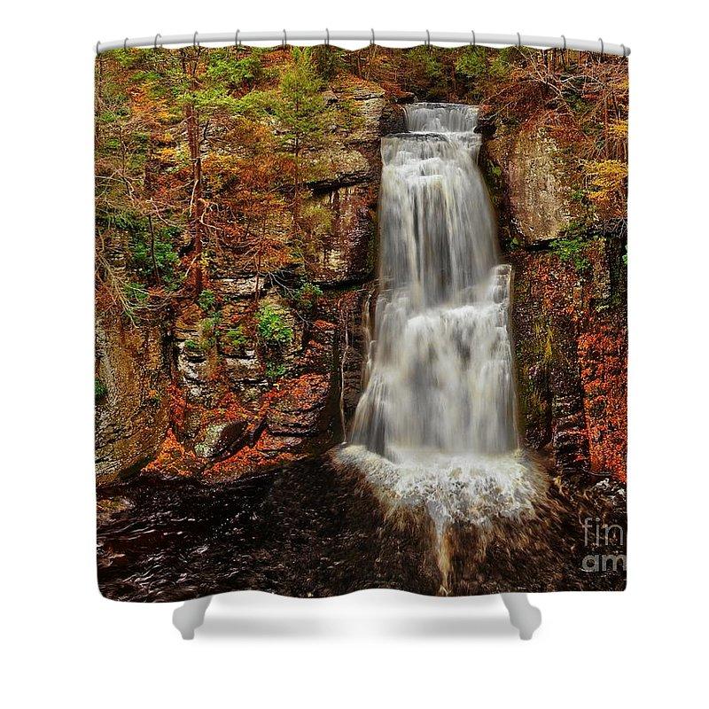 Autumn Shower Curtain featuring the photograph Bushkill Main Falls by Nick Zelinsky