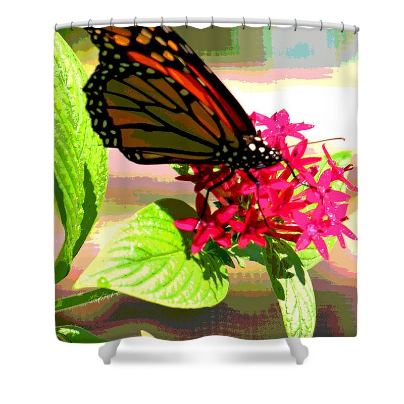 Fushia Shower Curtain featuring the digital art Butterfly Flowers by Peggy Starks