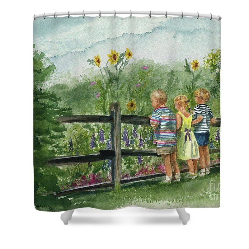 Children Shower Curtain featuring the painting By The Garden Fence by Nancy Patterson