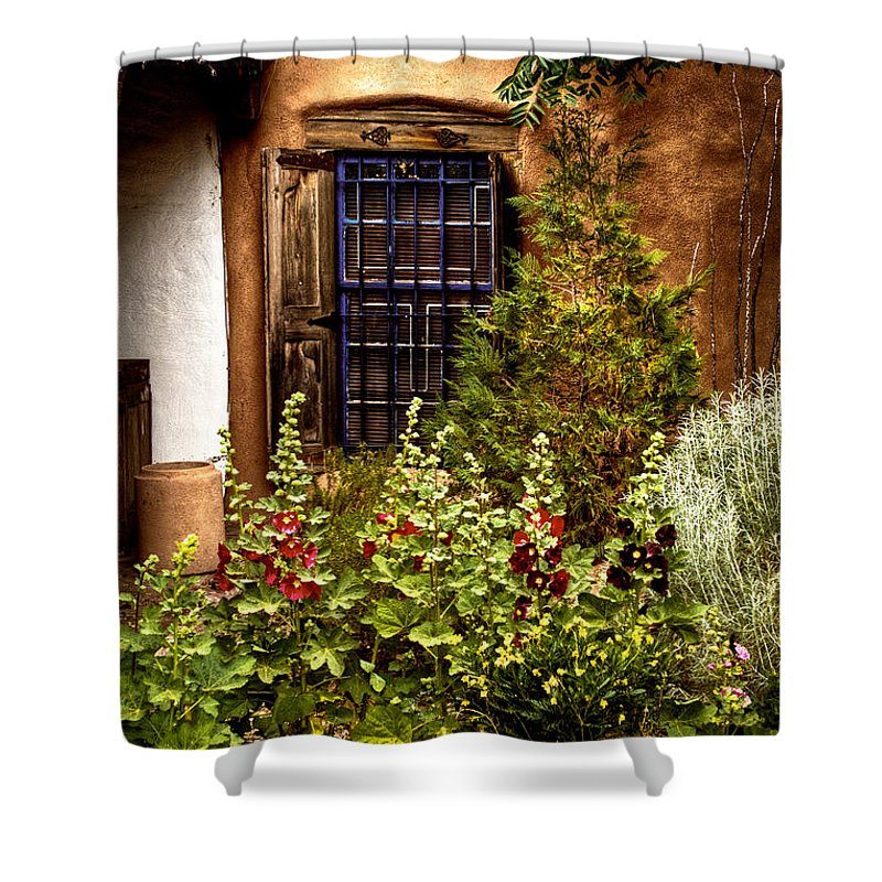 New Mexico Shower Curtain featuring the photograph Cafe Window by David Patterson
